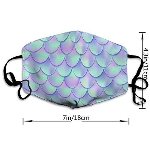 CIGOCI Fashion Earloop Face Mask, Anti-Dust Mouth-Muffle with Adjustable Elastic Band - Windproof Mermaid Fish Scales Half Face Mouth Medical Mask