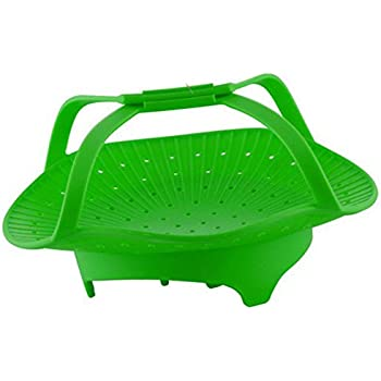 CookingBasics Silicone Vegetable Steamer - Anti-Slip 2017 Premium Quality Silicone Steamer Basket With Handles for Healthy Cooking, Veggies, Seafood, Fruits. Instant Pot Basket. Easy to Clean. Green.