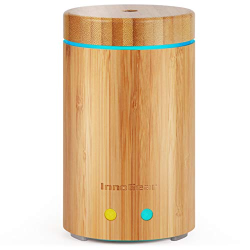 InnoGear Upgraded Real Bamboo Essential Oil Diffuser Ultrasonic Aroma Aromatherapy Diffusers Cool Mist Humidifier with Intermittent Continuous Mist 2 Working Modes Waterless Auto Off 7 Color LED Light by InnoGear