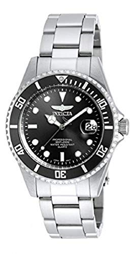 Invicta Men's 8932OB Pro Diver Analog Quartz Silver; Dial color - Black Stainless Steel Watch (Black Stainless Steel Mens Watch)