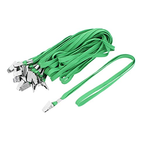 - Uxcell a15080300ux0082 ID Badge Holder Bulldog Clip Flat Neck Strap Lanyard Green (Pack of 22)