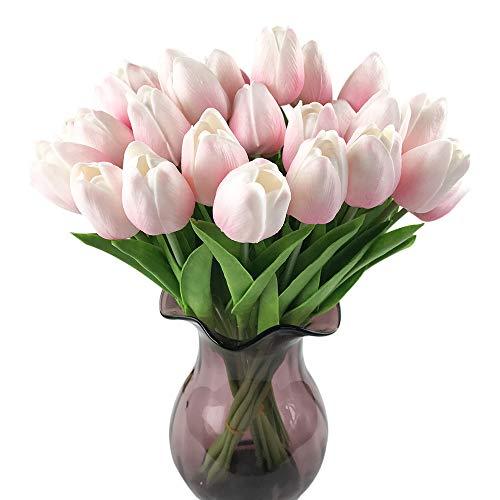 Pink Wedding Red Flowers (Montout 12PCS/Set PU Stunning Holland Tulip Flower Real Touch Artificial Silk Flowers Arrangement Bouquet Home Room Office Wedding Party Decor (Light Pink))