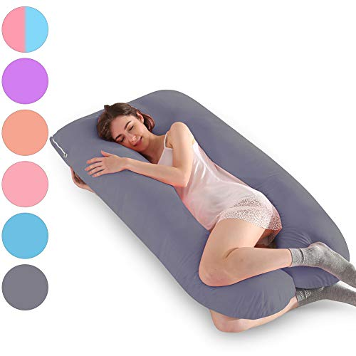 MINGPINHUIUS Pregnancy Body Pillow Include Velvet Pillow Cover, Maternity Pillows for Pregnant Women Sleeping 57″ Full Sufficient Cotton U Shaped Pillowcase Detachable Washable (Deep Grey)