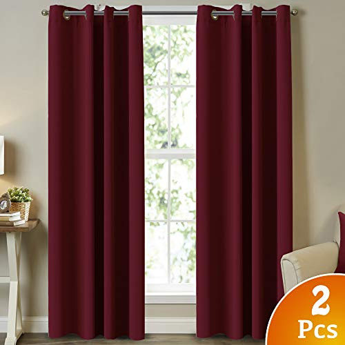 Burgundy Blackout Draperies Curtains Room Darkening Curtains Window Panel Drapes 2 Panels - 52 inch Wide by 96 inch Long Grommet Top Thermal Insulated Blackout Decorative Curtains