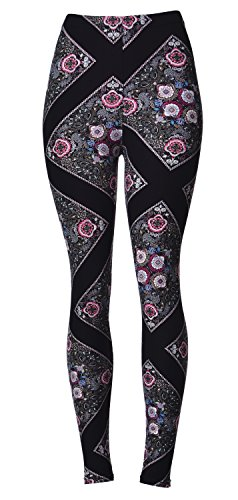 Regular Size Printed Brushed Leggings (Floral Pathway) (Spandex Leggings Floral)