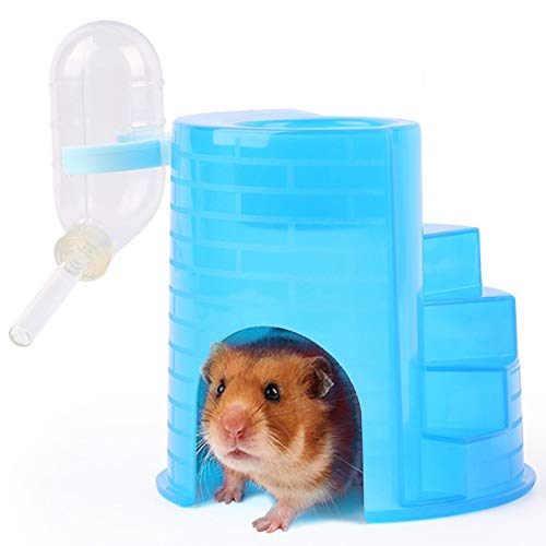 Gerbil Igloo Hideout Holder Clear Water Bottle,Syrian Hamster Food Bowl Dispenser,Plastic Hut with Climbing Activity Ladder 4-in-1 for Small Animals Mouse Rat,Blue
