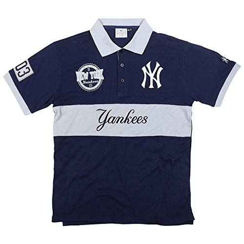 FOCO MLB New York Yankees Cotton/Poly Wordmark Rugby Short Sleeve Polo Shirt ()