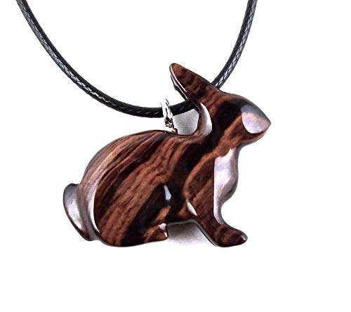 Bunny Pendant Necklace Rabbit Animal Jewelry Hand Carved in Kingwood