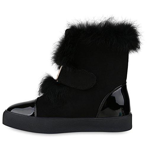 Stiefelparadies Damen Stiefeletten Warm Gefütterte Stiefel Leder-Optik Winter Boots Nieten Zipper Schnallen Camouflage Schuhe Flandell Schwarz Brooklyn