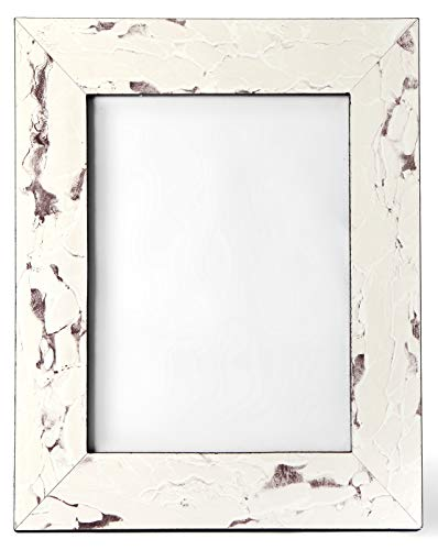 Carla Carstens White Vintage Stone Marble 8x10 Picture Frame | Plastic Acrylic Suede Glass | Tabletop Desktop Photo Wedding Personal Personalized |