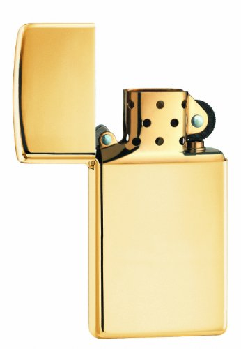 ZIPPO Slim High Polish Brass Solid Brass Zippo (Solid Brass High Polish)