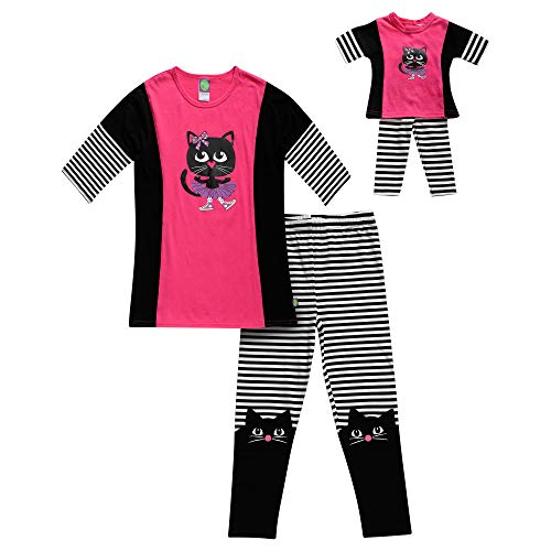 Dollie   Me Girls  Screen Printed Top with Legging and Matching Doll Outfit 50f395f30