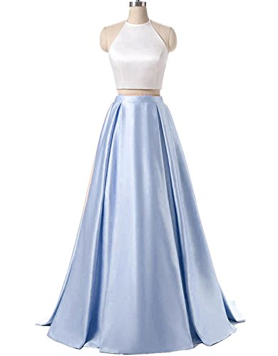 2 Piece Satin Dress (ALW Women's Halter Two Piece Long Prom Dress Formal Evening Gown ALW196WL-US2)