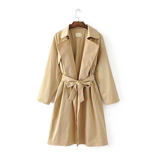 VB Las mujeres Coat anorak solapa Correa de color sólido, de longitud mediana ropa Khaki