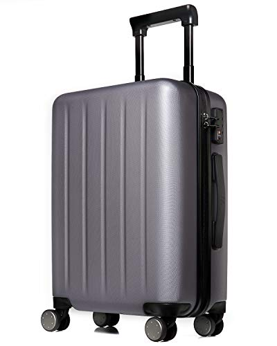 NINETYGO Carry on Luggage 22x14x9 with Spinner Wheels, 100% Polycarbonate Hardside Luggage, Carry on Suitcase with TSA Lock for Travel, Super Durability & Slim Simplistic Design (20-Inch Gray)
