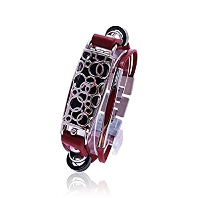 Fitbit Bracelet SOMA - FitBit flex Jewelry - Silver/ Red - stainless steel - real leather