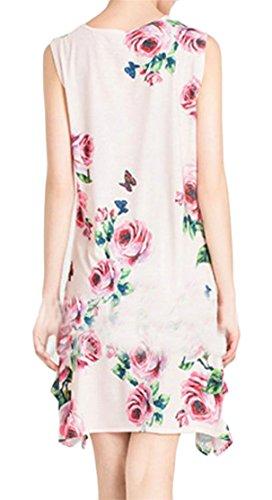 Crewneck Cromoncent Print Mini Women Sleeveless Casual Swing Pleated Dress Pink tqqv64w
