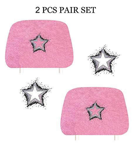- KAAA ALLBrand Crystal Studded Bling Rhinestone Car Truck Seat Headrest Covers - Pair (Empty Star/Pink)