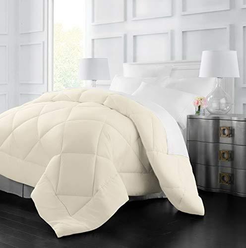 Hemau Premium New Soft Goose Down Alternative Comforter - All Season - 2100 Series Hotel Collection - Luxury Hypoallergenic Comforter - Twin/TwinXL - Ivory | Style 503192941
