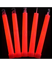 """Glow Sticks Bulk Wholesale 25 6"""" Industrial Grade Red Light Sticks. Bright Color Glow 12-14 Hrs Safety Glow Stick with 3-year Shelf Life Glow With Us Brand"""