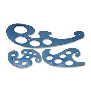 3 Pc.Template Set, French Curves, 10-50mm, Blue, Sold as 1 Set