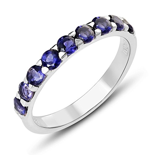 Iolite Ring (STELLAR DESIGNS Genuine Round Shape Gemstone .925 Sterling Silver 9 Stone Ring)