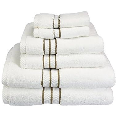 Superior Hotel Collection 900 Gram, 100% Premium Long-Staple Combed Cotton 6 Piece Towel Set, White with Latte Border