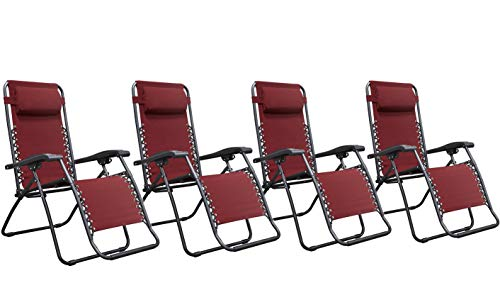 Naomi Home Zero Gravity Lounge Patio Outdoor Recliner Chairs Red Set of 4