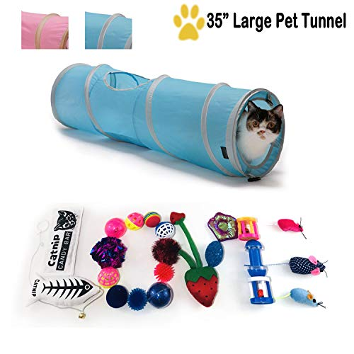 Maximum Mark 22 Cat Toys Kitten Toys Assortments, 2 Way Extra Large Cat Tunnel, Long 35 Inch Pet Tunnels Pink and Blue Colors - Fish, Fluffy Mouse, Crinkle Balls for Cat, Puppy, Kitty, Kitten