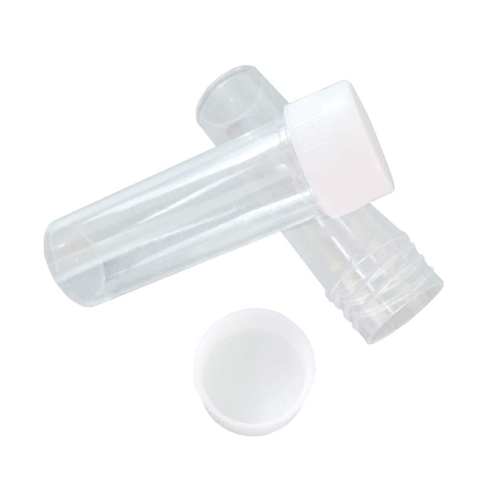 Lot de 12 tubes /à essai en plastique transparent de 25 ml avec bouchon /à vis vides rechargeables pour exp/ériences scientifiques /épices poudres bonbons perles