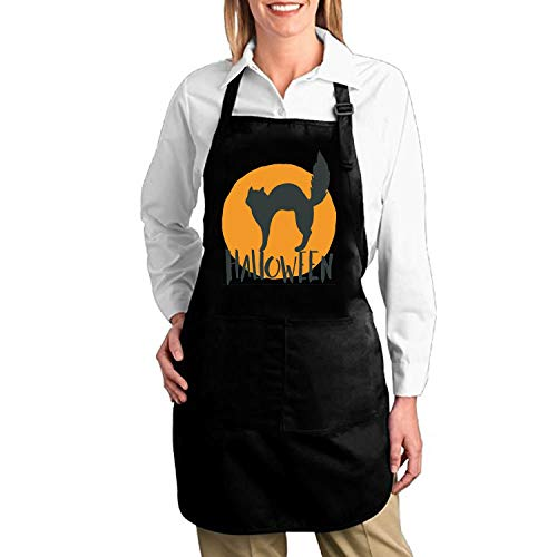 aportt Happy Halloween Emblem Adjustable Bib Apron with Pockets Adult Home Kitchen Apron Chef Apron for Men and Women