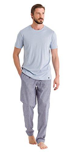 HANRO Men's Night and Day Short Sleeve Shirt, Stone Blue, Medium by HANRO