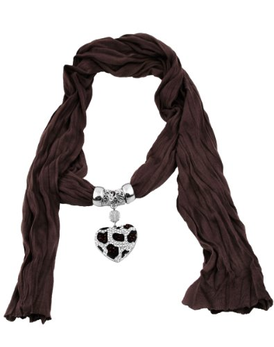 Leopard Heart Crystal Charm Pendant Scarf Necklace (Brown) - Leopard Heart Crystal