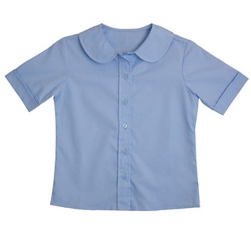 Genuine School Uniform Girls Light Blue Peter Pan Collared Short Sleeve Shirt