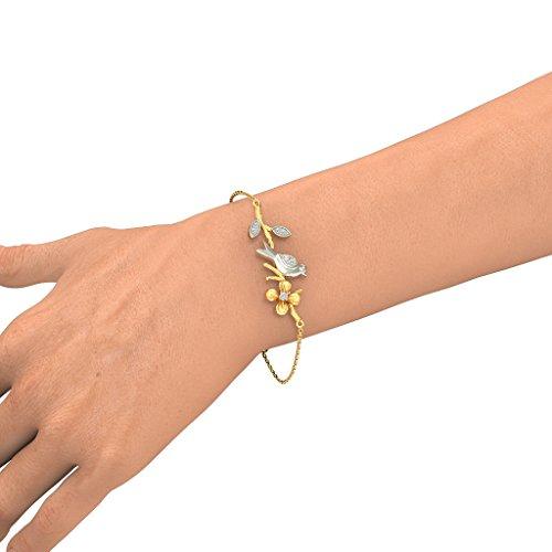 14K Or jaune, 0.115CT TW Round-cut-diamond (Ij| SI) Identification-bracelets