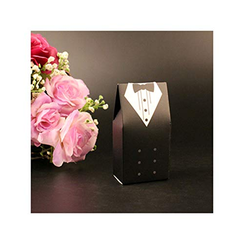 - 50pcs Candy Box Bridal Gift Cases Groom Tuxedo Dress Gown Ribbon Wedding Favors Sugar Case Wedding Decoration,Groom