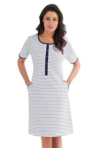 Luna Damen Nachthemd Nachtkleid Sleepshirt für Schwangere und Stillende Mütter