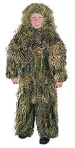 Kids Ghillie Suit Set Woodland Green Camo