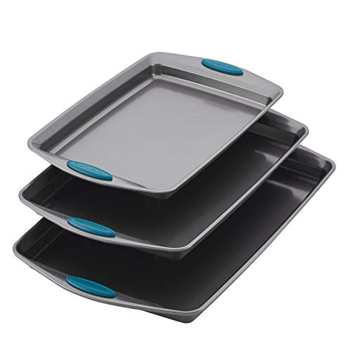 Rachael Ray Nonstick Bakeware Cookie Pan Set, 3-Piece, Gray with Marine Blue Silicone Grips