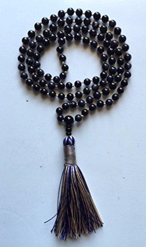 Necklace Goldstone Handmade - Blue Goldstone hand knotted Japa Mala beads necklace - 6mm Karma Nirvana Om Meditation mala chakra mala beads brings courage confidence willpower boost vitality energy - Free rosary pouch - USA Seller