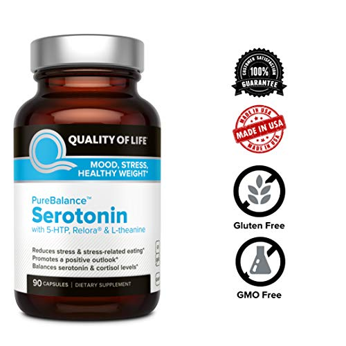 Quality of Life Pure Balance Serotonin Premium 5-HTP & Stress  Supplement-Helps Boost Serotonin & Cortisol Levels-Mood & Sleep-Includes  Relora,