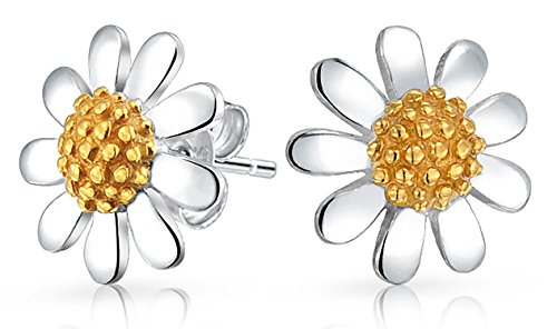 Daisy Flower Stud Earrings Petite Beaded Center Sterling Silver Gold Plated - Floral Earrings Daisy