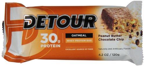 Detour avoine à grains entiers Whey Protein Bar avoine, de beurre d'arachide aux pépites de chocolat, 4,2 once, 12-Count