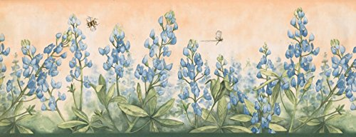 Cerulean Flowers Bumble Bee Dragonfly Merigold DB3805B Wallpaper Border