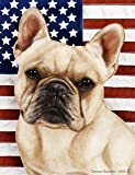 "French Bulldog Cream by Tamara Burnett Patriotic II Garden Dog Breed Flag 12"" x 17″ For Sale"
