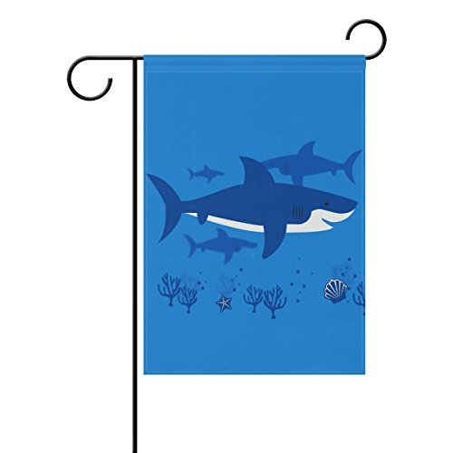 """LEISISI Sharks Collection Garden flag 28""""X40"""" Two Sided Yard"""