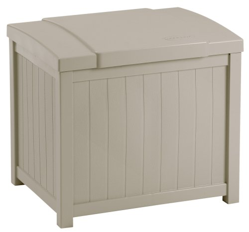 - Suncast Resin Patio Storage Box - Outdoor Bin Stores Tools, Accessories and Toys - Taupe