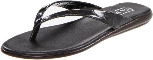 Lia Bijou Women's Sabina Thong Sandal,Black Patent Croc,8 M US (Thong Sandal Patent)