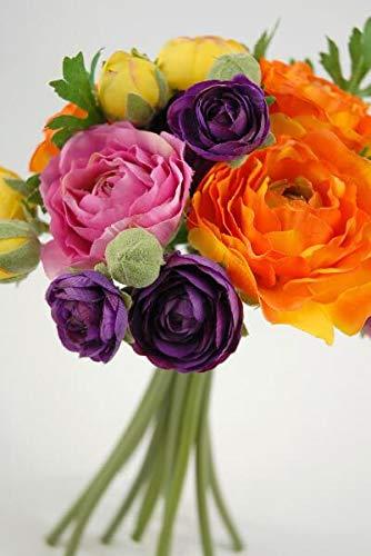 """Richland Ranunculus Flower Bouquet 9"""" Orange, Purple, Yellow"""