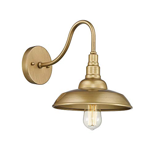 Emliviar Vintage Wall Lighting Fixture, 10 inch Barn Light for Living Room Bedroom, Gold Finish, 523 AG (Gold Wall Antique Sconces)
